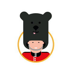 Cartoon british soldier in a bear hat vector