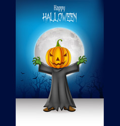 cartoon kid wearing halloween pumpkin costume with vector image