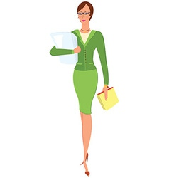 Cartoon woman in green suit holding papers vector image