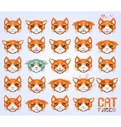 cat faces emoticon vector image