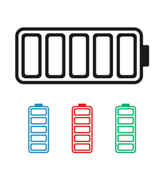 charged battery icon in different colors blue red vector image