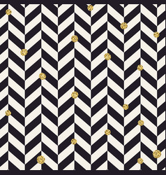Chevron black pattern and golden chaotic dots vector