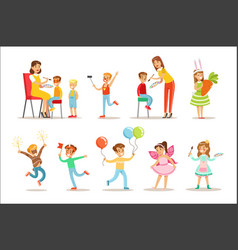 Children in costume party set of vector
