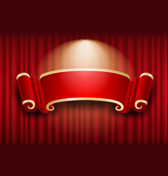 Chinese banner design on red curtain light up vector
