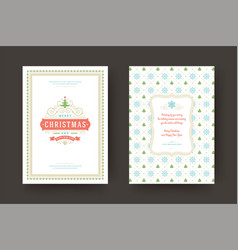 Christmas greeting card vintage typographic design vector