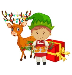 Christmas theme with baker and reindeer vector