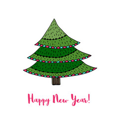 christmas tree sticker happy new year cartoon vector image