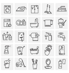 Cleaning icon set on squares background for vector