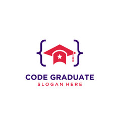 Code graduate hat logo design inspiration vector