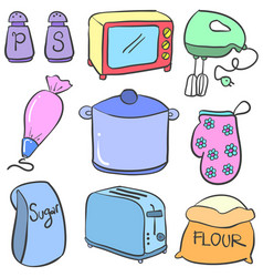 Collection of kitchen set doodle colorful vector