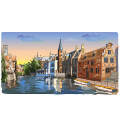 colorful view on rozenhoedkaai water canal in vector image