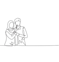 Continuous one line drawing romantic arabian vector