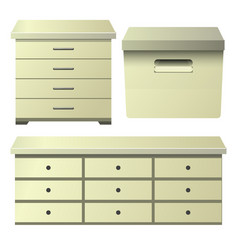 Cream drawer dresser with bedside night stand and vector