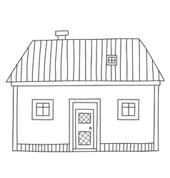 Cute cartoon contour house or cottage isolated on vector