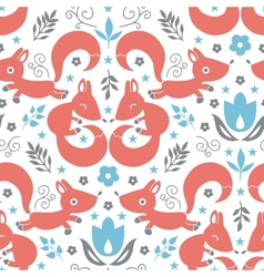 Cute foxes seamless pattern background vector image