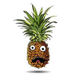 cute pineapple cartoon character emotion horrified vector image
