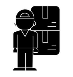 delivery man icon black sig vector image