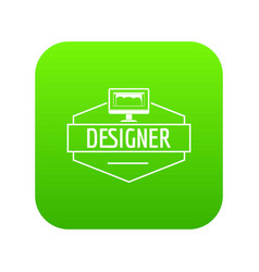 designer icon green vector image