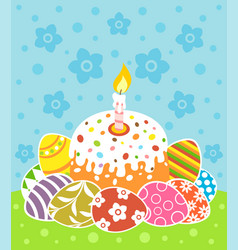 easter background card with cake and eggs vector image