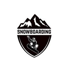 extreme emblem with snowboarder design element vector image