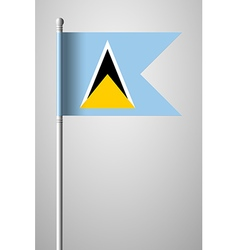 Flag of Saint Lucia National Flag on Flagpole vector