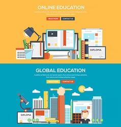 Flat design concept banner Online and Global vector image