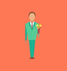 Flat icon on stylish background schoolboy flowers vector