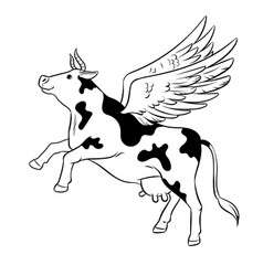 Flying cow farm animal coloring vector