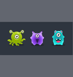 funny glossy colorful monsters cute cartoon vector image
