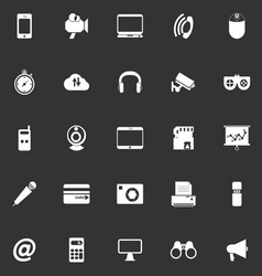 Gadget icons on gray background vector