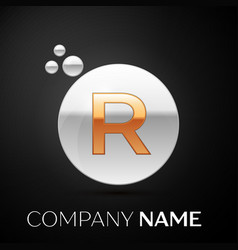 gold letter r logo silver dots splash and bubble vector image