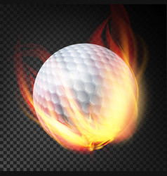 Golf ball on fire burning style vector