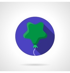 Green star shaped balloon flat round icon vector image