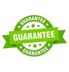 Guarantee ribbon guarantee round green sign vector