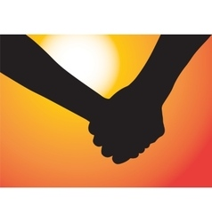 Hands of couple in love Sunset as background vector