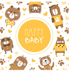 happy babanner template with cute brown bears vector image