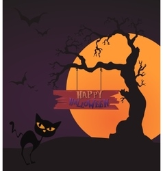 Happy Halloween Card Template Mix Moon and tree vector