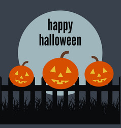 happy halloween pumpkin on the fence vector image