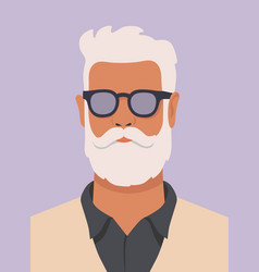 hipster man with white beard vector image