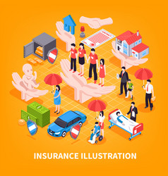 Insurance isometric vector