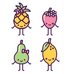 isolated fruit characters kawaii cute set vector image