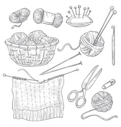 Knitting tools and threads isolated sketches vector