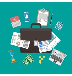 leather briefcase and business items vector image