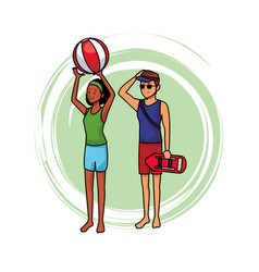 Lifeguard with woman and beach ball vector
