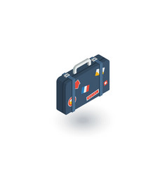 luggage suitcase travel bag whit stickers vector image