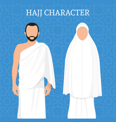 man and woman pilgrimage characters vector image