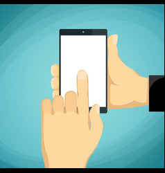 Man holds in a palm a smartphone with a white vector