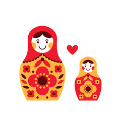 Matryoshka russian dolls mother and daughter vector