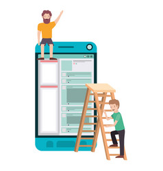 Men with smartphone and stepladder avatar chatacte vector