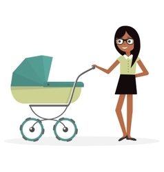 Mother with baby stroller Cartoon vector image